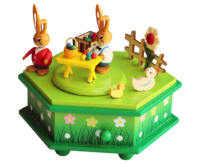 Music Box Rabbits - Selling-booth 6-sided approx.15*13 cm