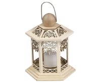 Lantern LED 6-sided gothic approx.16x20 cm - 2 LED - For Battery use
