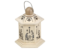 Lantern LED 6-sided approx.16x20 cm - Nativity scene -  For Battery use