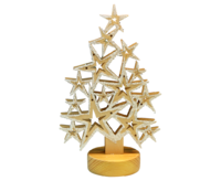 Star shaped Tree with LED lights approx.11*31,5 cm natural with snow - PU 12