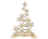 Star shaped Tree with LED lights approx. 29*41 cm natural with snow - transformer use possible