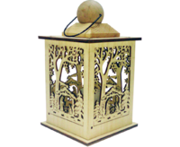 Lantern with LED ca. 12,5*12*5*22 cm Nativity scene natural - Battery use