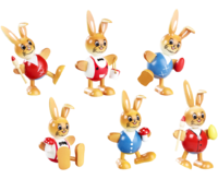 Ball shaped Rabbit with legs 6-fold assorted 10 cm - PU 48