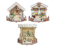 Christmas market Booth  with 1  LED ca. 15*14*13cm - 3-fold assorted