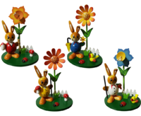 Ballrabbits with Flower 4-fold assorted