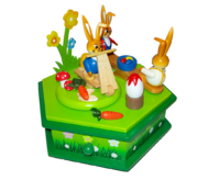 "Music Box ""Rabbits - Playground"" 6-sided approx.15*13 cm"