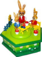 Music Box Rabbits - School  6-sided approx.15*13 cm